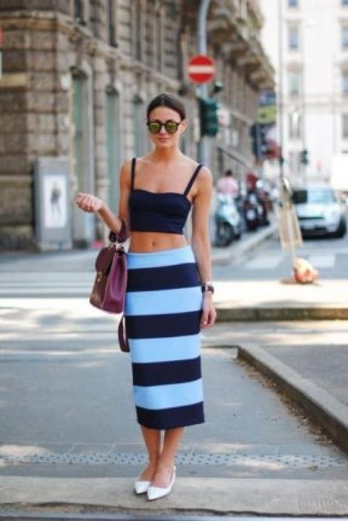 Юбка в синюю полоску. Юбка в полоску в женском гардеробе