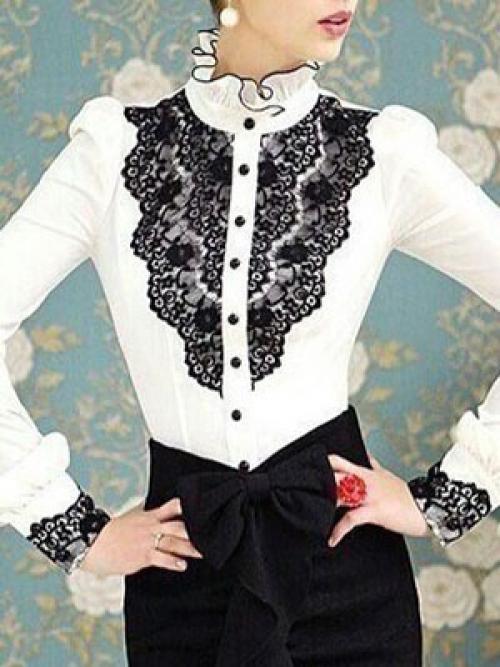 Как своими руками украсить белую рубашку. Оригинальное украшение блузки кружевом 02