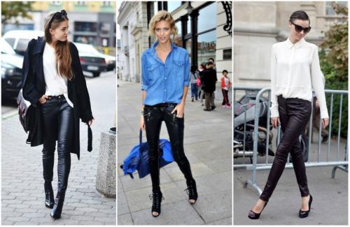 Что носить с кожаными брюками. С чем носить брюки из кожи
