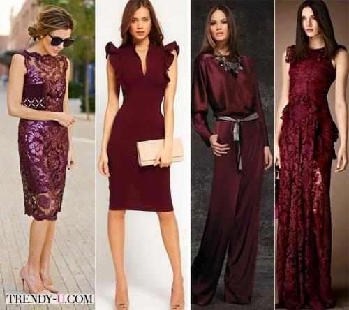 Платье марсала и украшение под него. Платье цвета марсала: с чем носить?