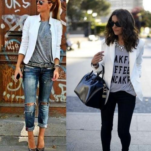 Как украсить женский пиджак. Фото модных моделей женских белых пиджаков