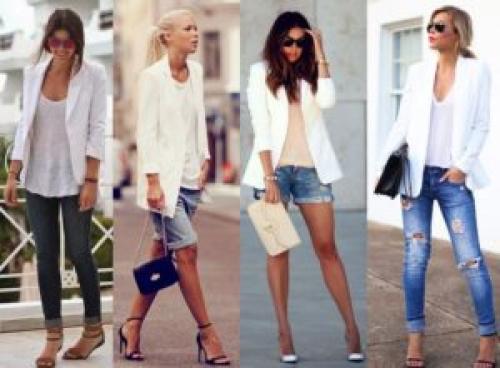 Как украсить белый пиджак. С чем можно носить белый женский пиджак