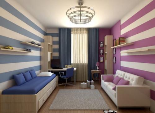 Спальня для родителей и 2 детей. Для мальчика и девочки