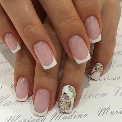 французский маникюр шеллаком фото на короткие ногти
