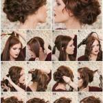 Эффектная женская прическа на средние и длинные волосы.